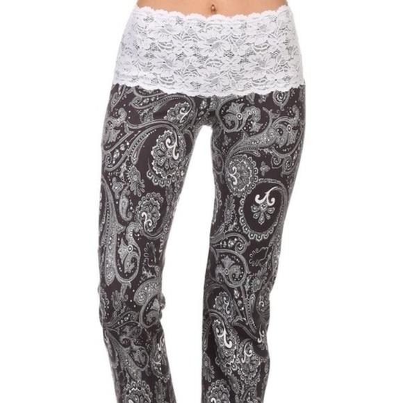 7f51c0f09580e0 Chatoyant Pants | Charcoal Paisley Lace Waist Yoga | Poshmark